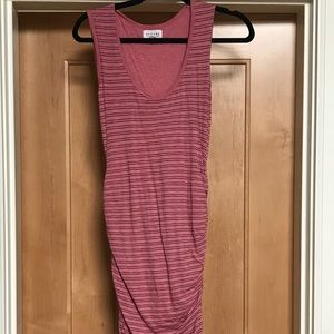 Ruched pink striped dress